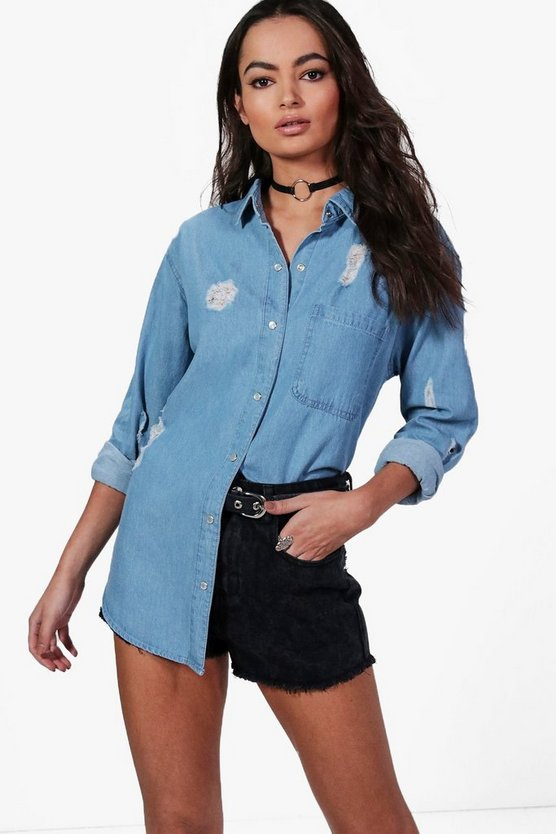 Ellie Oversize Distressed Denim Shirt