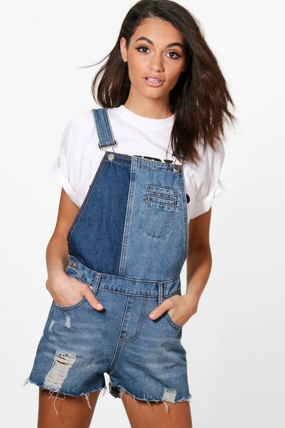 Zoe Two Tone Denim Dungaree Shorts