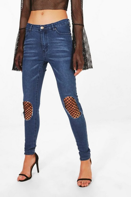 Ria Busted Knee Fishnet Skinny Jeans
