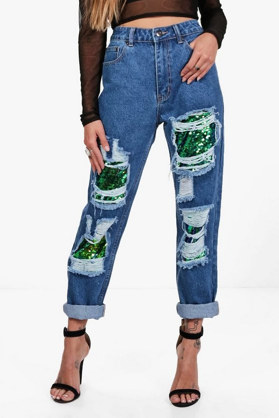 Hatty Sequin Boyfriend Jeans