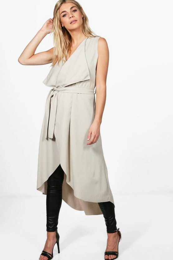 Charlotte Belted Sleeveless Waterfall Duster