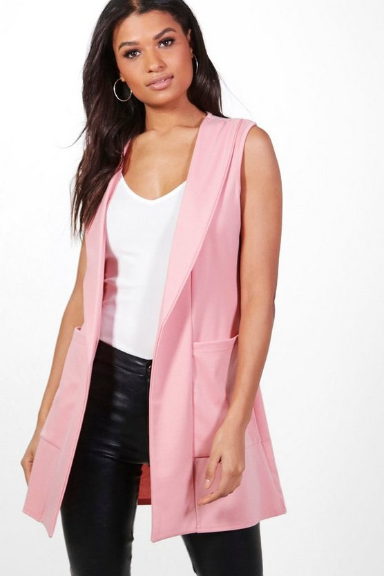Jennifer Shawl Collar Sleeveless Blazer