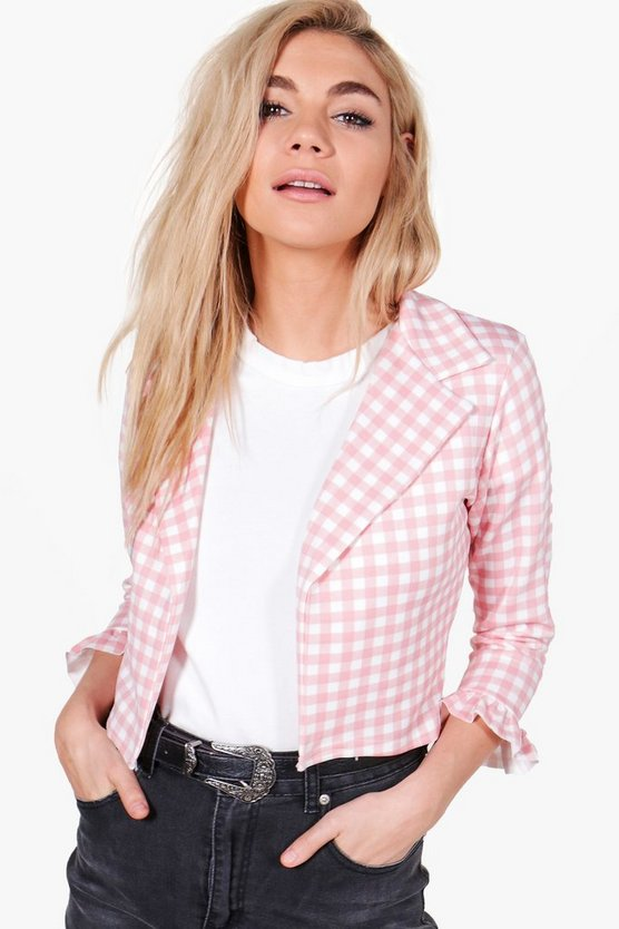 Rachel Gingham Crop Frill Jacket