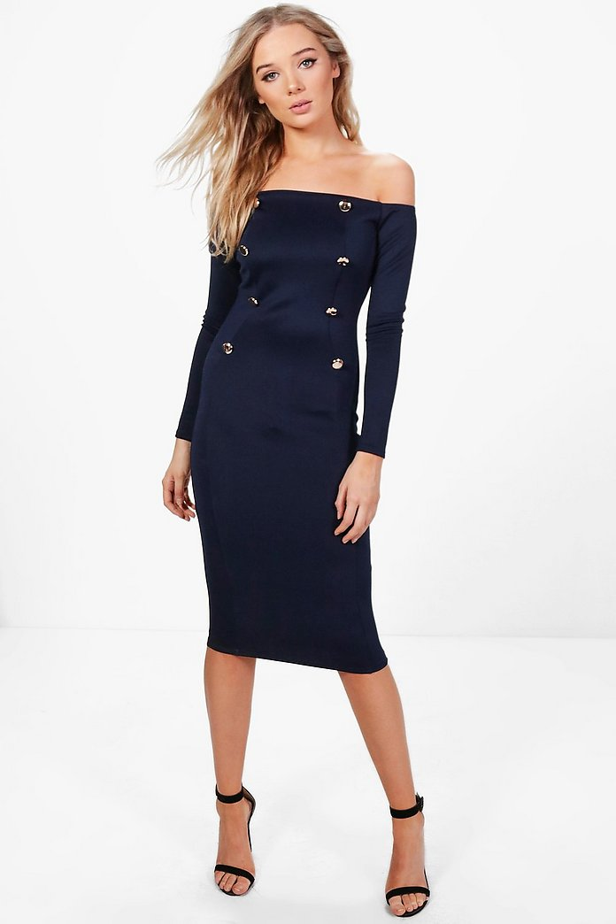 Lydia Double Breasted Off The Shoulder Midi Dress