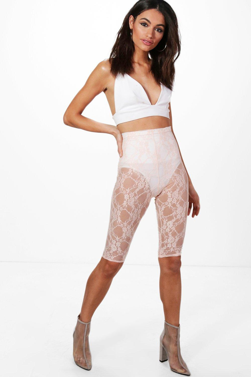 Amelie Knee Length Lace Leggings nude