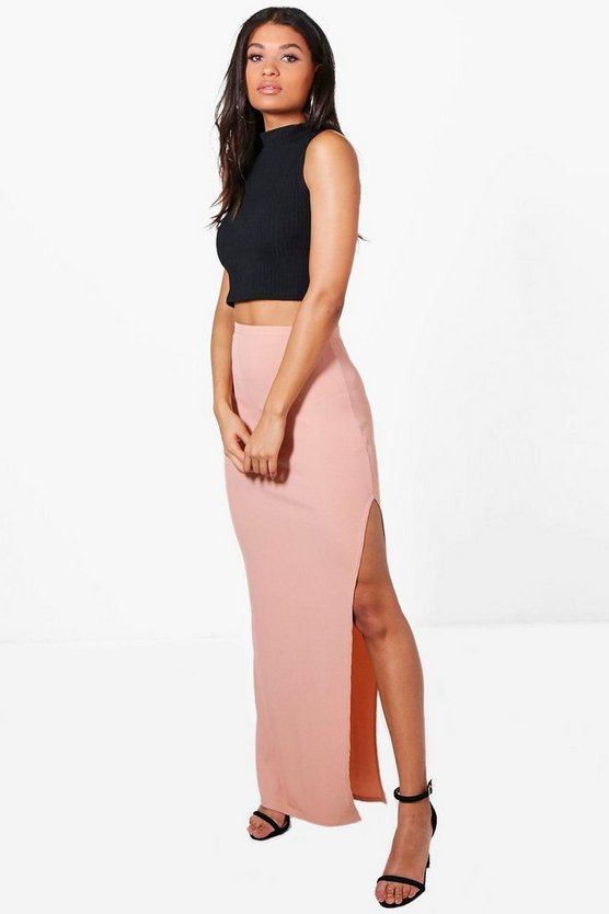 Allegra Thigh Split Ribbed Maxi Skirt