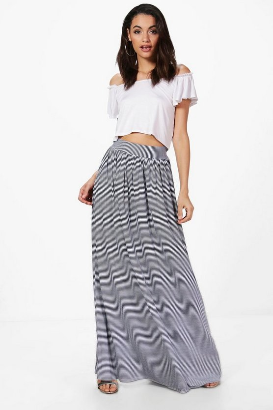 Aurora Monochrome Floor Sweeping Maxi Skirt