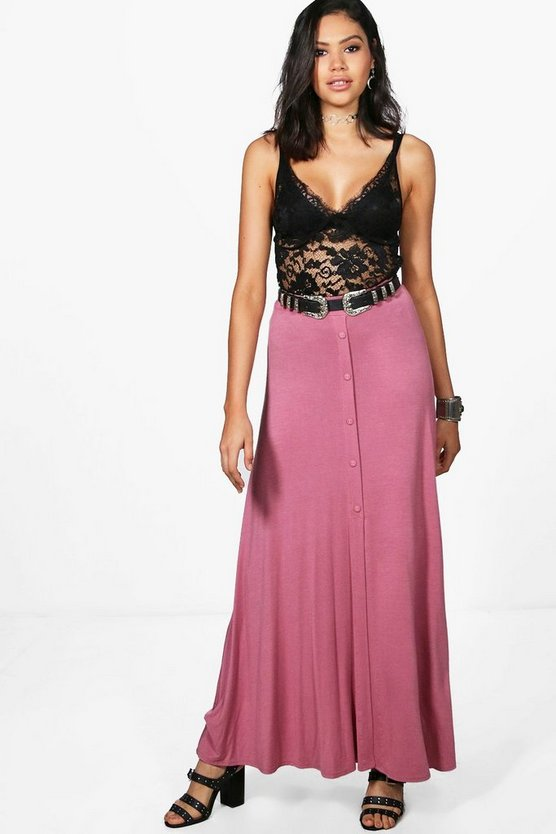 Eva Button Front Jersey Maxi Skirt