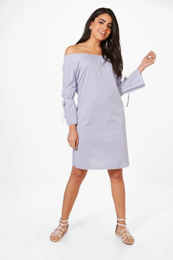 Esme Stripe Off Shoulder Shift Dress