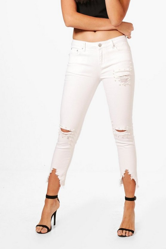 Lois Pearl Detail Distressed Skinny Jeans