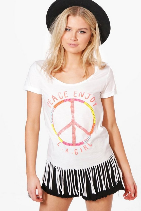 Lily Beaded Peace Slogan Fringed T-Shirt