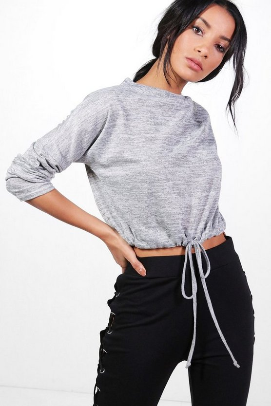 Rebecca Drawstring Waist Batwing Knitted Top