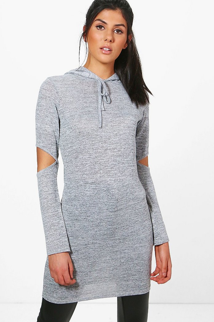 Isabelle Slash Elbow Knitted Hooded Tunic