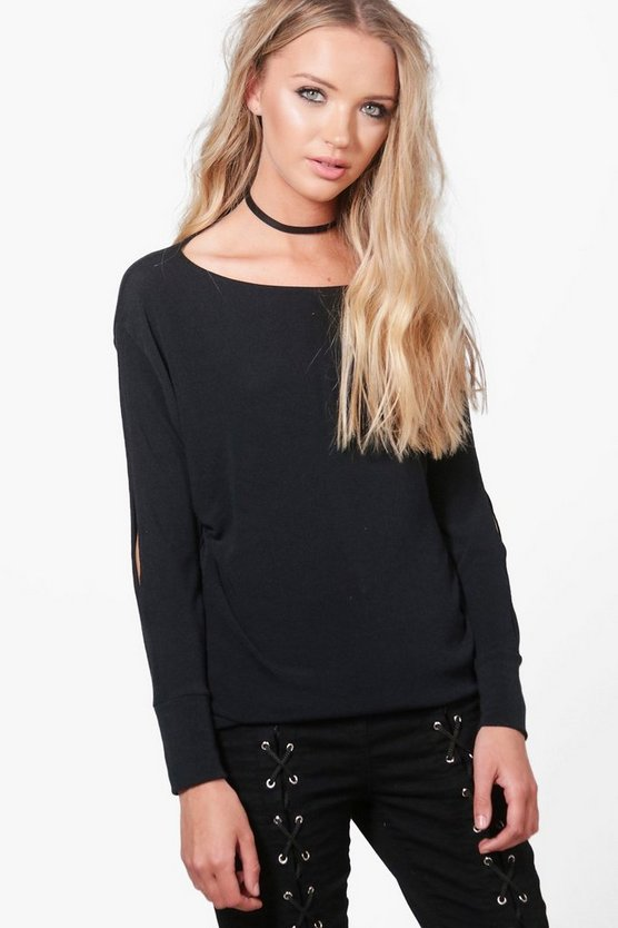 Aimee Extreme Slit Arm Knitted Top