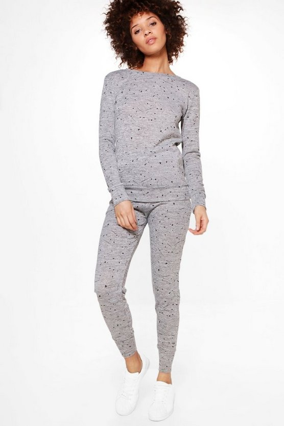 Brooke Splash Print Knitted Loungewear Set
