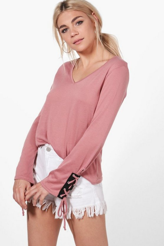 Georgina Lace Up Sleeve Knitted Top