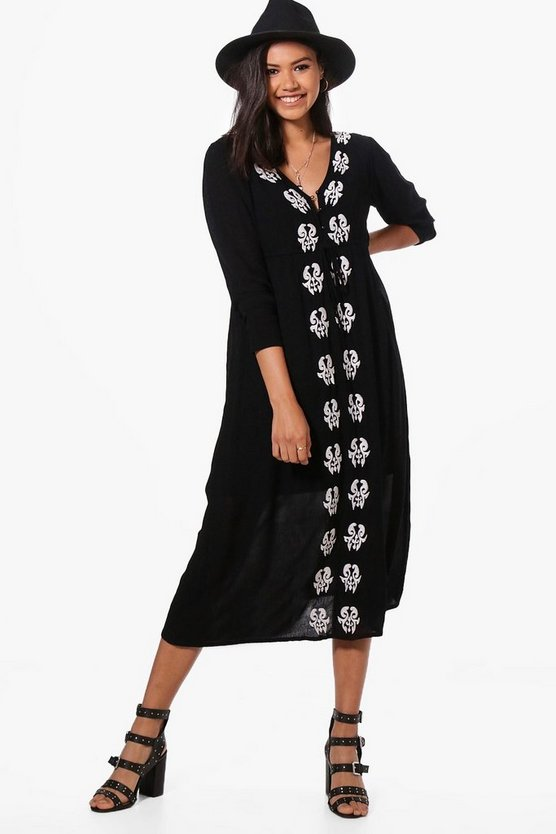 Casey Embroidered Midi Dress