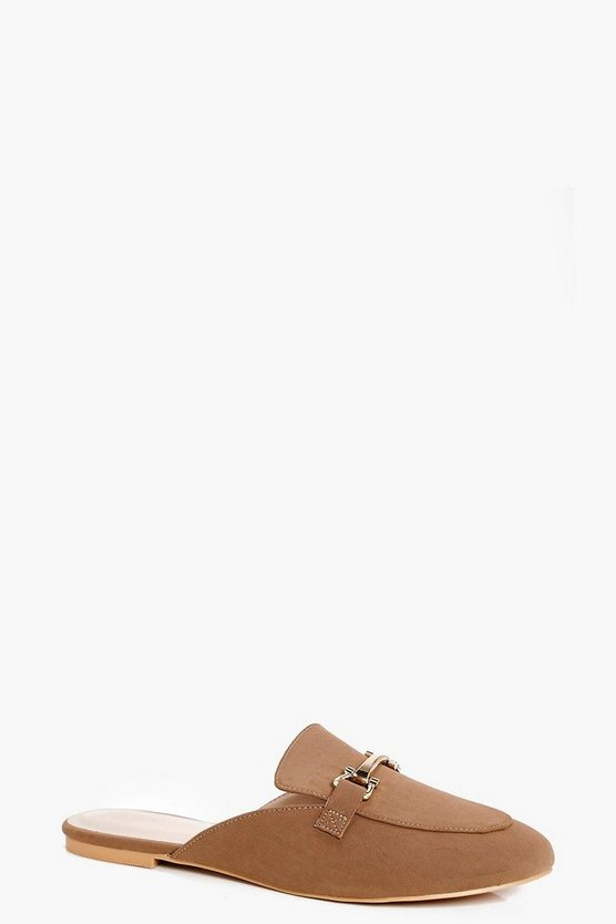 Ella Metallic Trim Slip On Loafer Mule Flat