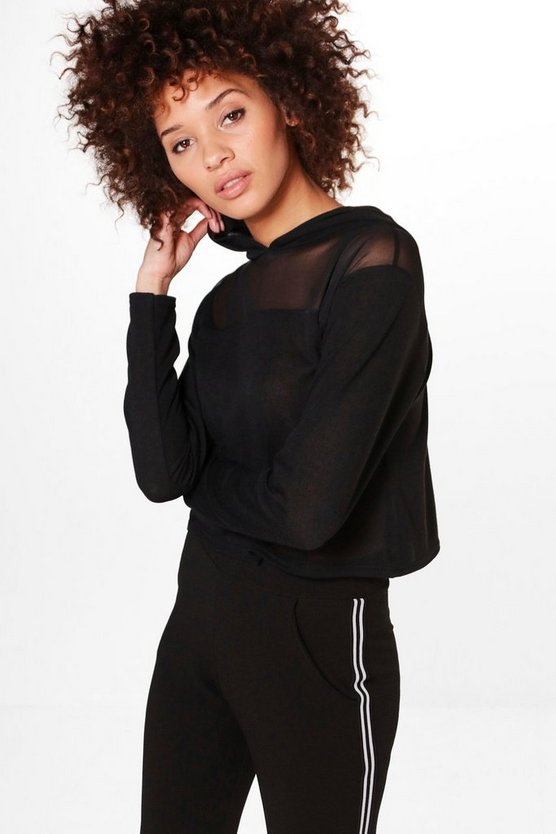 Olivia Mesh Insert Crop Knitted Hoody