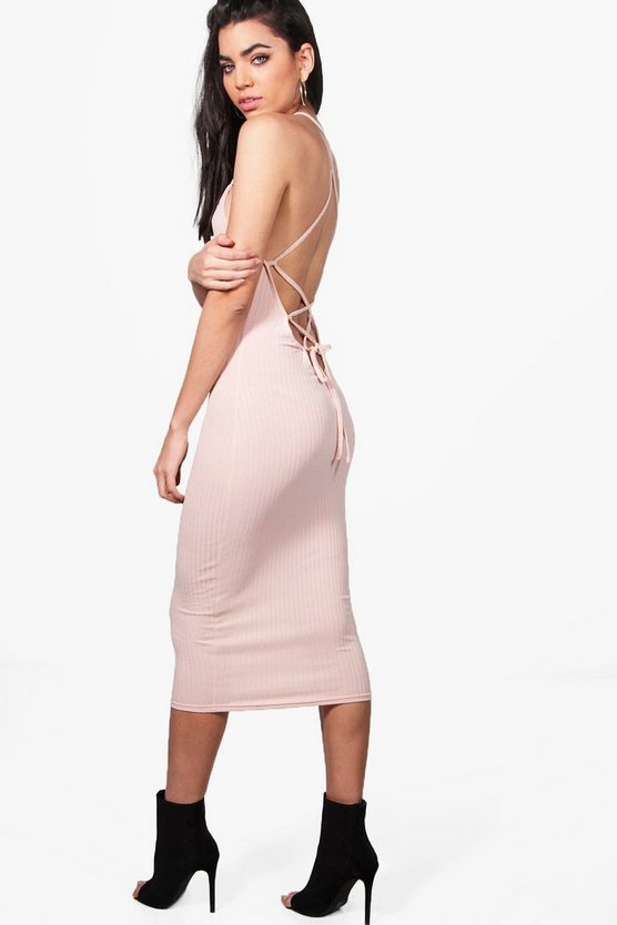 Madison Lace Up Back Strappy Midi Dress