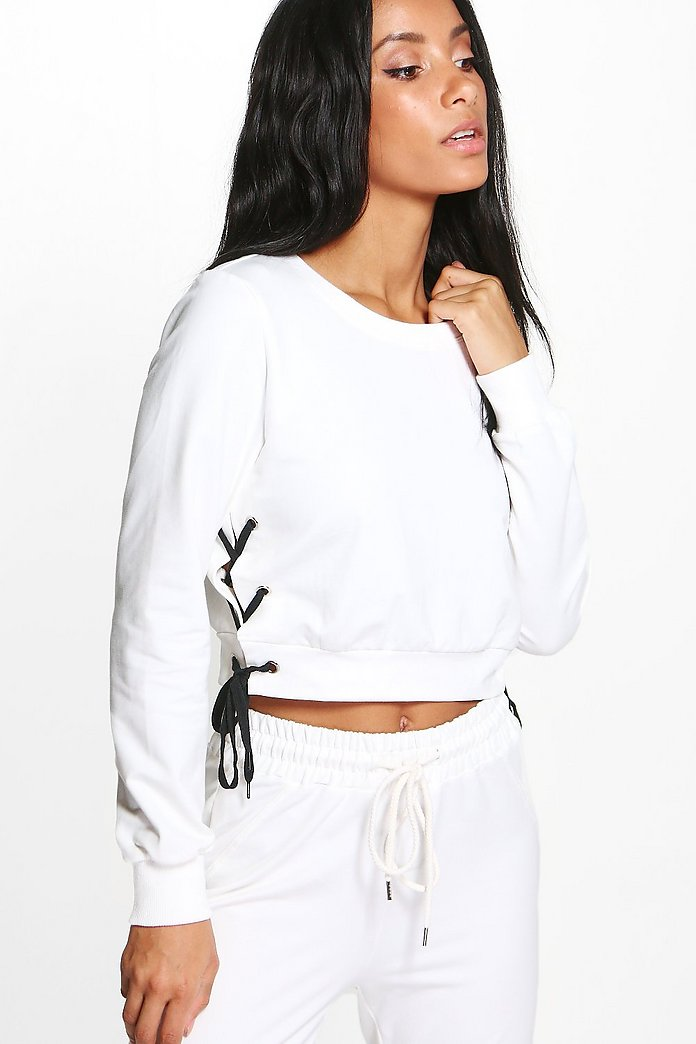 Eloise Boutique Lace Up Side Detail Crop Sweat
