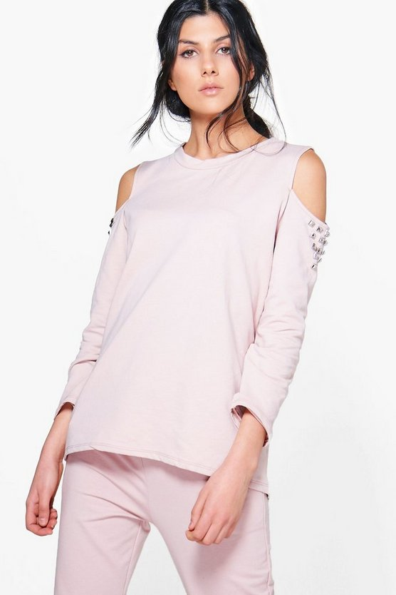 Eva Boutique Studded Cold Shoulder Sweat Top