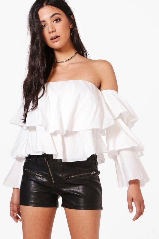 Holly Bardot Tier Sleeve Crop