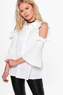 Bluse aus Webmaterial mit Volant und ausgeschnittenen Schultern - Boohoo.com