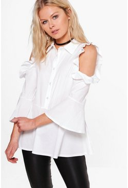 Woven Frill Cold Shoulder Blouse