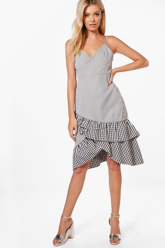 Beci Stripe & Gingham Mix Ruffle Detail Dress