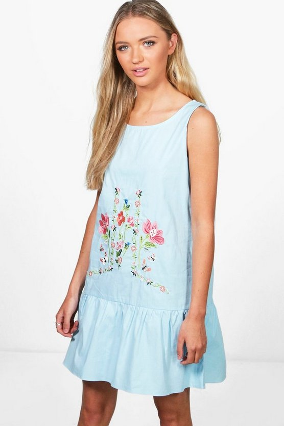 Emilie Embroidered Smock Dress