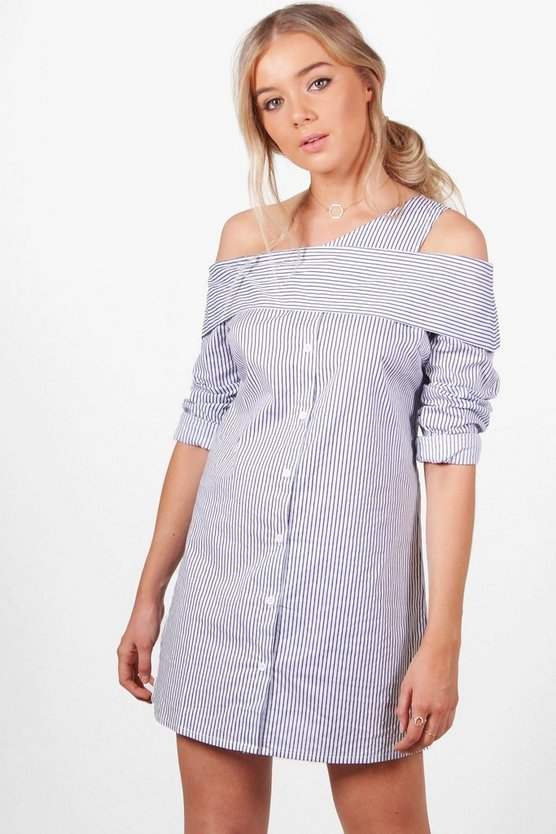 Sabrina Stripe Off Shoulder Shirt Dress