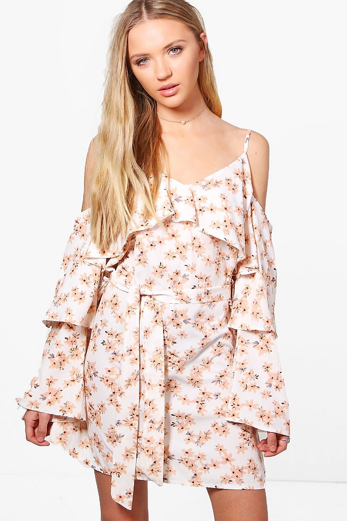 Hollie Floral Frill Cold Shoulder Shift Dress