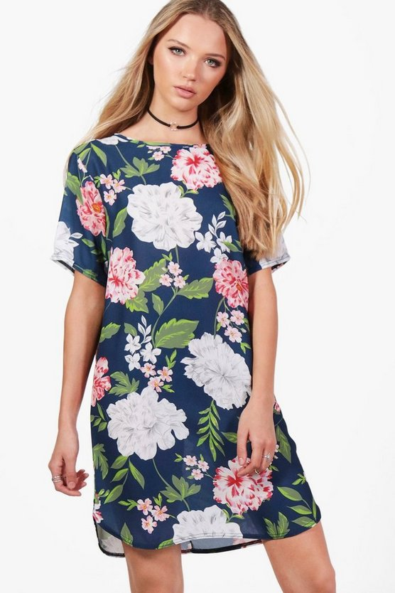 Jemma Oriental Cap Sleeve Shift Dress