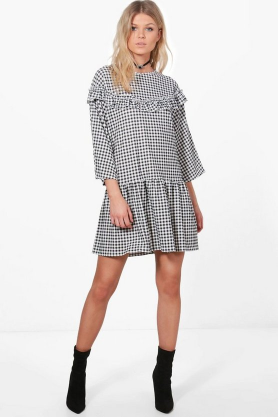 Jenna Gingham Ruffle Hem Smock Dress