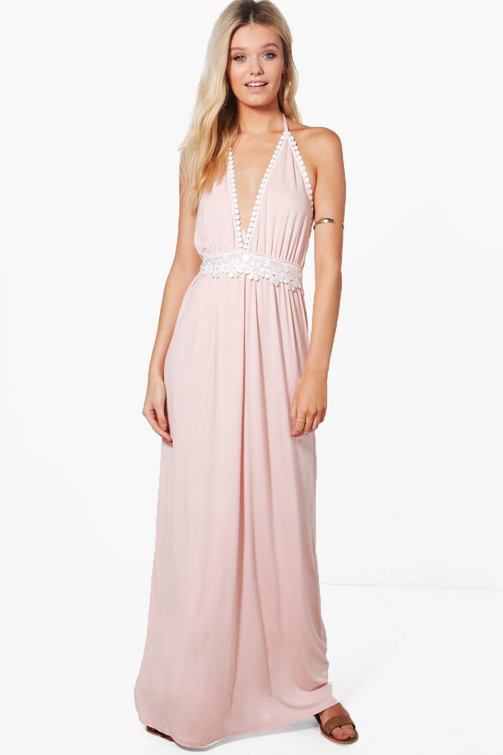 Boohoo Hollie Crochet Detail Halter Neck Maxi Dress Outlet Locations ALWgfn