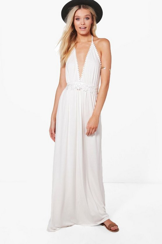 Hollie Crochet Detail Halter Neck Maxi Dress
