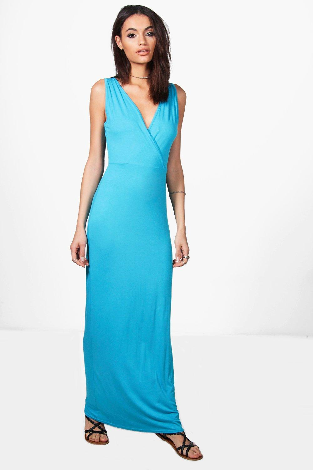 Wrap Front And Back Maxi Dress  turquoise