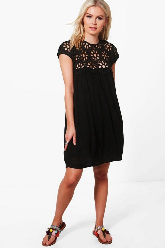 Boutique Isla Lace Top Shift Dress