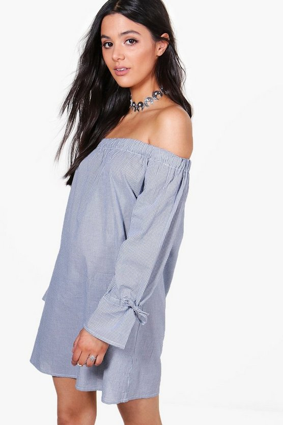 Elle Gingham Off The Shoulder Shift Dress