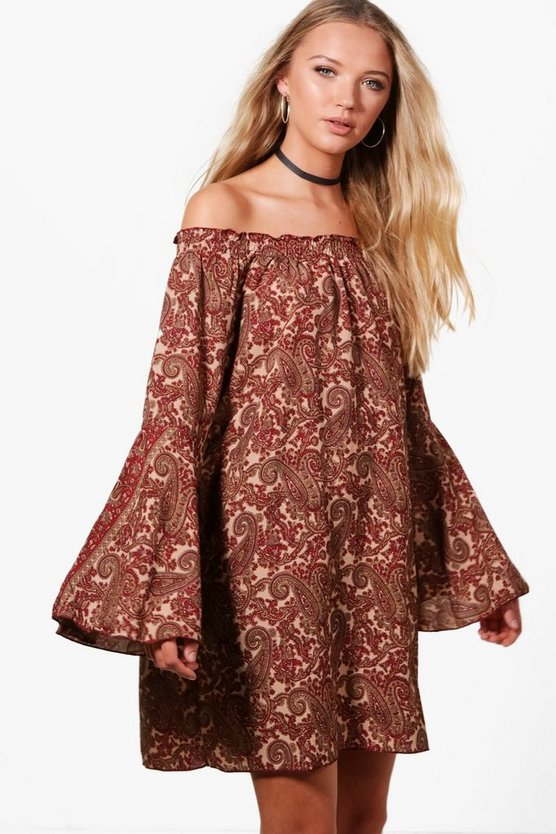 Ella Off The Shoulder Shift Dress