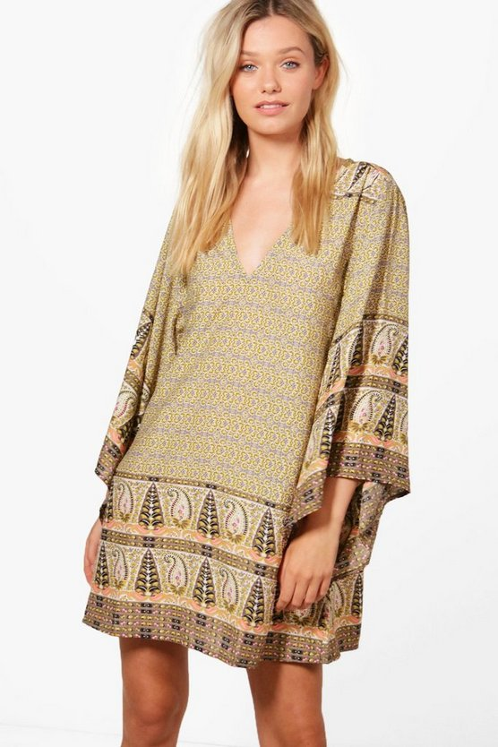 Cara Extreme Kimono Sleeve Shift Dress