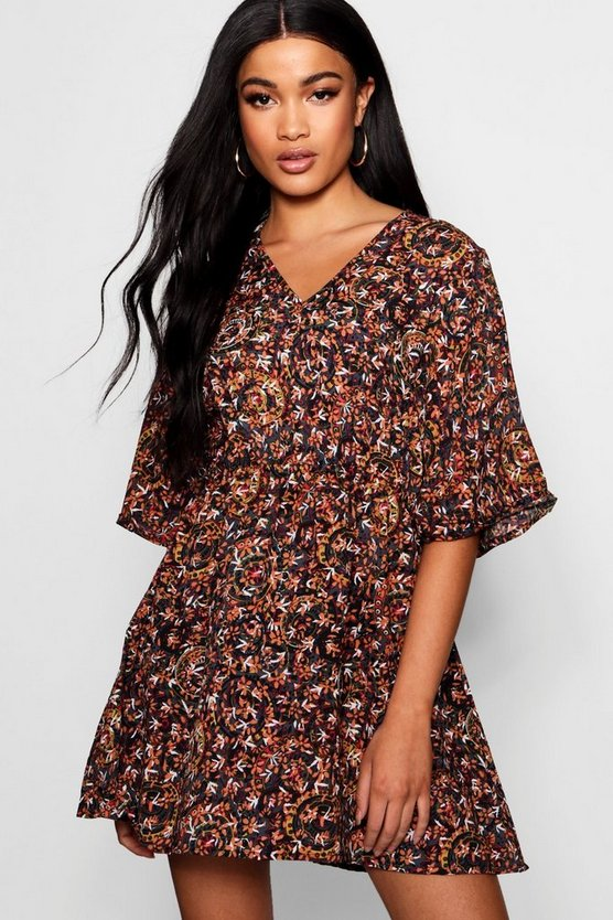 Alice Flute Sleeve Printed Skater Dress