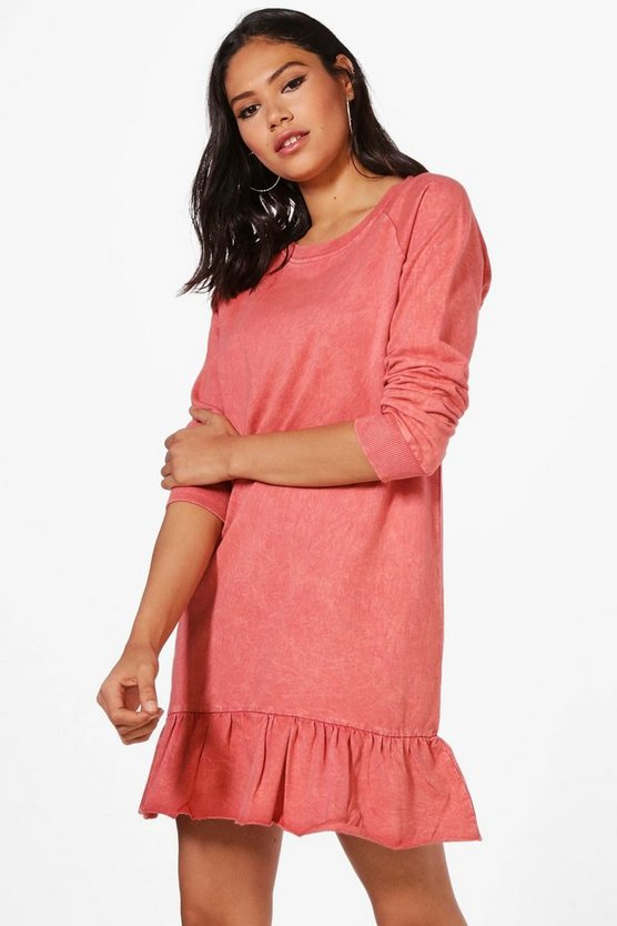 Erin Acid Wash Drop Waist Sweat Dress