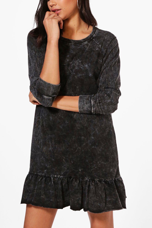 NEW-Boohoo-Womens-Erin-Acid-Wash-Drop-Waist-Sweat-Dress-in-Cotton