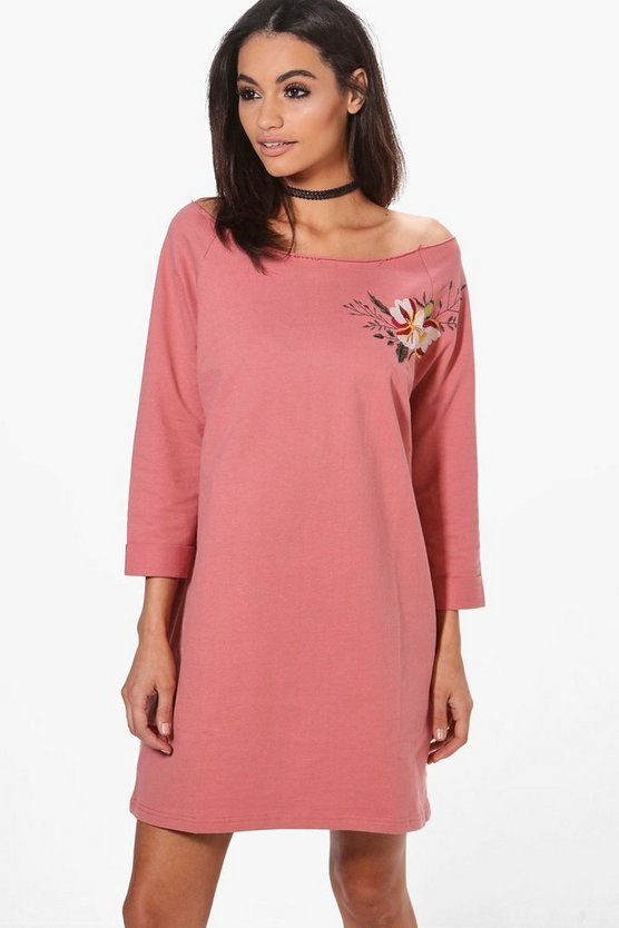 Charlotte One Shoulder Embroidered Sweat Dress