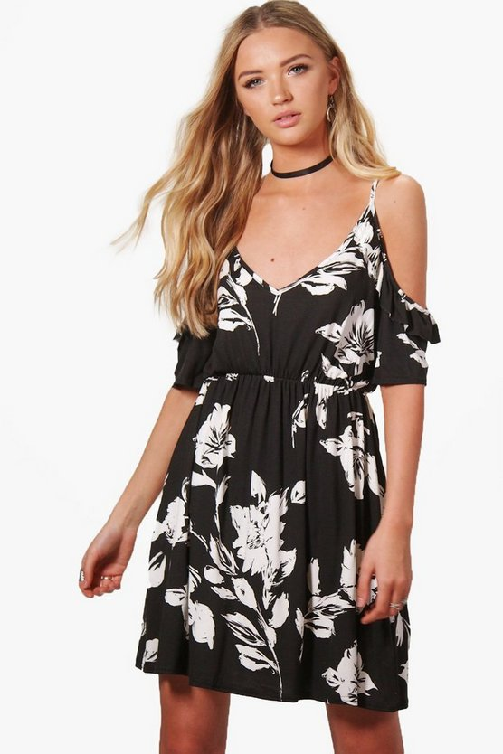 Jade Floral Cold SHoulder Ruffle Skater Dress