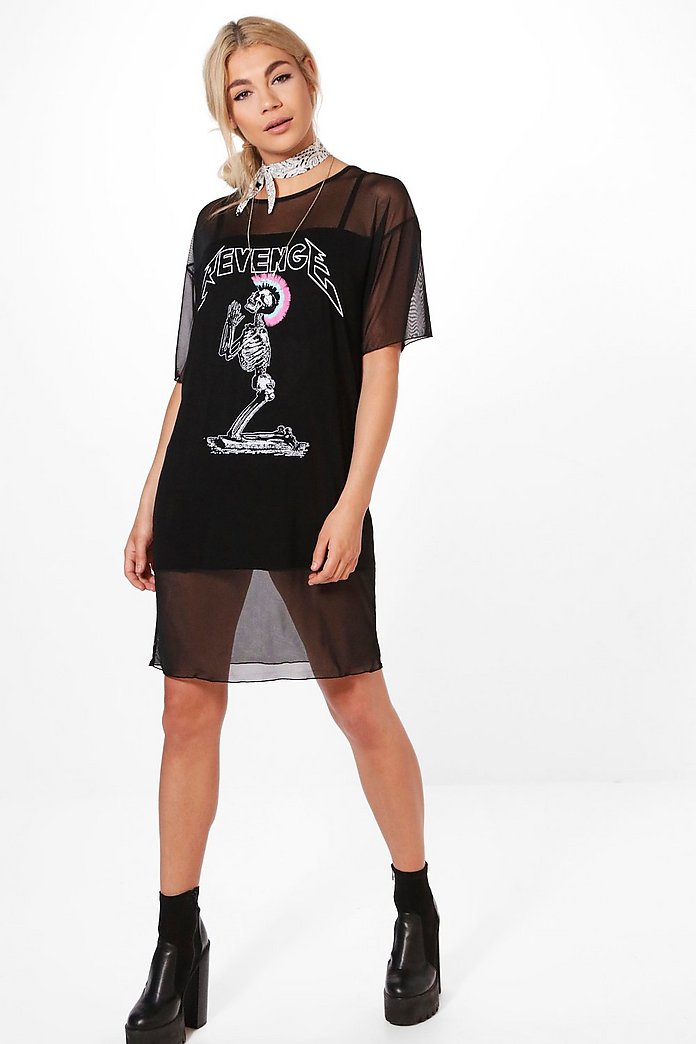 Tiggy Mesh Printed T-Shirt Dress