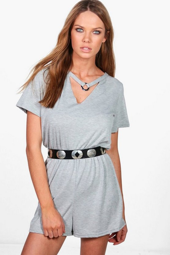 Maria Playsuit aus Jersey mit Ringapplikation