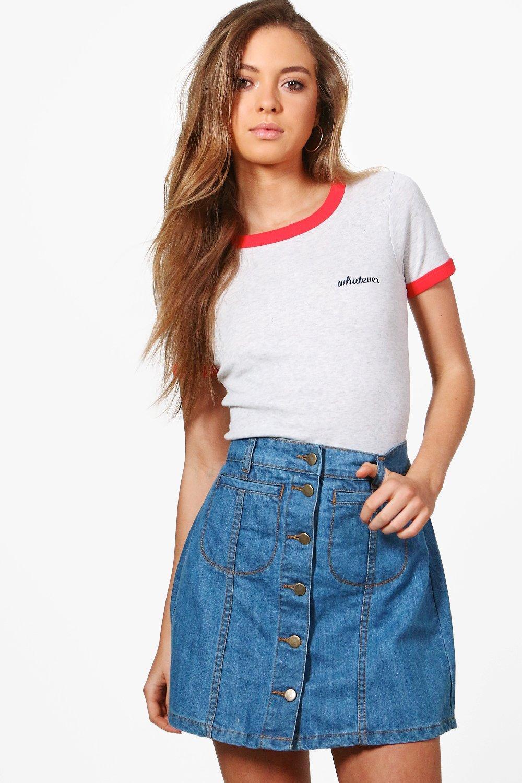 Button Through Denim Mini Skirt  blue